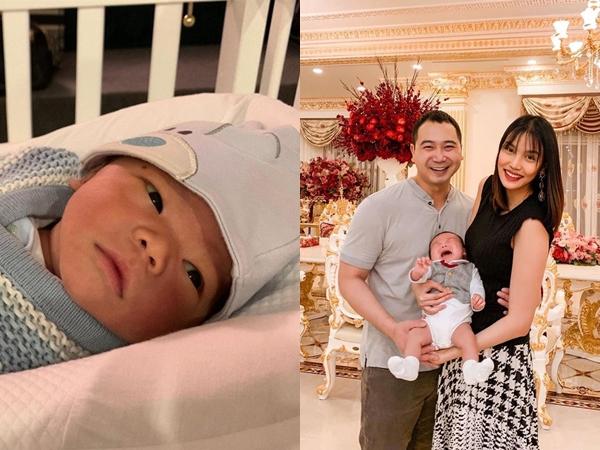 Vợ chồng Lan Khuê khoe ảnh hạnh phúc bên nhau nhưng chiếm trọn spotlight là biểu cảm của quý tử đầu lòng