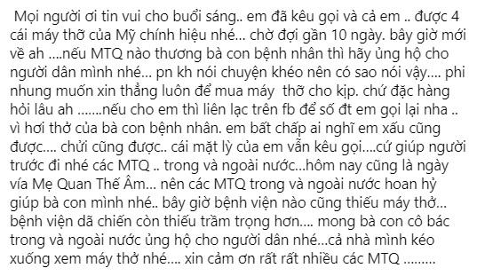 Kệ miệng đời, Phi Nhung tuyên bố 'lì mặt' kêu gọi quyên góp mua máy thở: 'Ai chửi cũng được, cứu người trước' - Ảnh 2