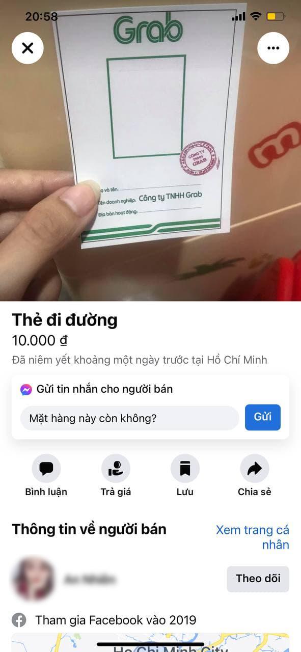 'Giấy thông hành' giả mạo Grab bày bán tràn lan trên Facebook với giá 10.000 đồng - Ảnh 1