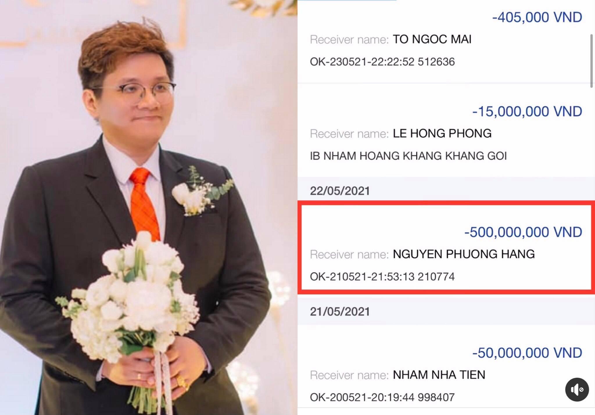 Sau tin đồn bị 'sờ gáy', Nhâm Hoàng Khang tung clip 'khoe' đã chuyển 500 triệu cho bà Phương Hằng dằn mặt antifan