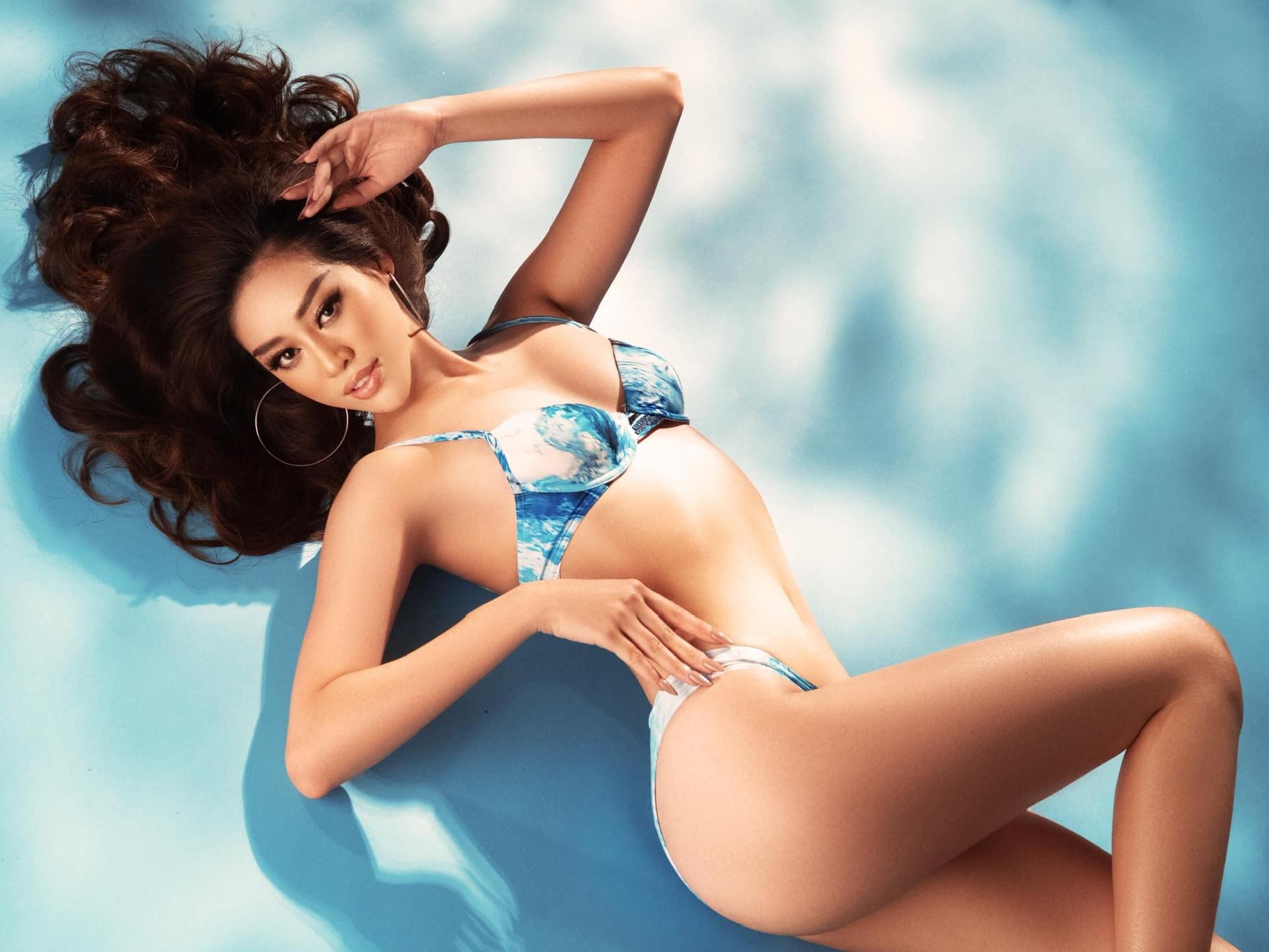 Khánh Vân 'bùng cháy', khoe body 'sắc như dao' trong bộ bikini nhỏ xíu trước thềm bán kết Miss Universe