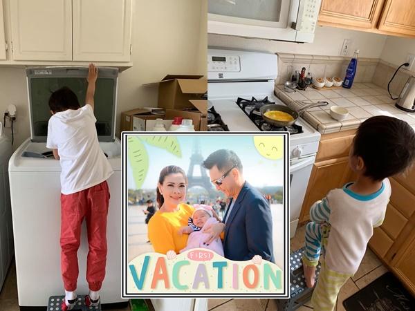 Mới 8 tuổi, con trai nuôi của Thanh Thảo đã thạo việc nấu nướng, giặt đồ, rửa chén, đi chợ... phụ mẹ