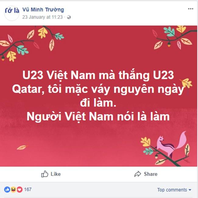 Nói là làm, chồng mặc váy của vợ đi làm cả ngày sau khi U23 Việt Nam thắng trận bán kết - Ảnh 1
