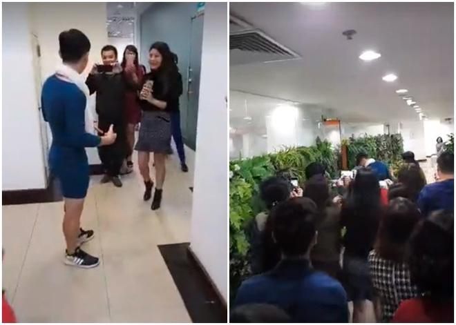 Nói là làm, chồng mặc váy của vợ đi làm cả ngày sau khi U23 Việt Nam thắng trận bán kết - Ảnh 2
