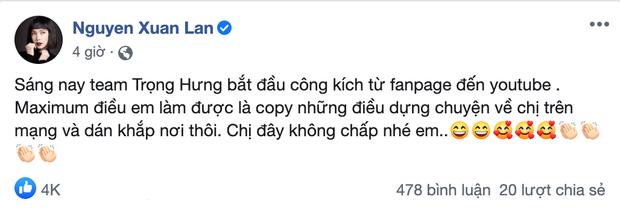 Xuân Lan tố bị Trọng Hưng công kích từ Fanpage đến Youtube sau khi tiết lộ cuộc gọi nghi vấn kể xấu Âu Hà My trên talkshow - Ảnh 1