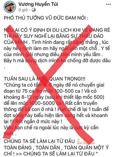 Đăng tin không đúng về Covid-19, một trường hợp ở Huế bị phạt 7,5 triệu đồng - Ảnh 1