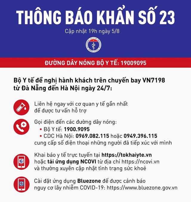 Khẩn: Truy tìm hành khách trên chuyến bay VN7198 từ Đà Nẵng ra Hà Nội - Ảnh 1