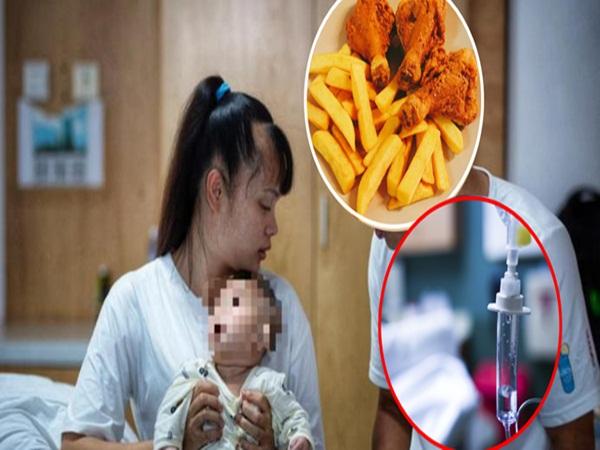 Bé trai 2 tuổi ngộ độc tím người, đau bụng, nôn mửa do ăn gà rán, khoai tây chiên để qua đêm