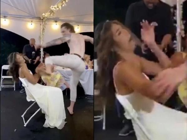 Đang cởi trần nhún nhảy, chú rể bỗng đá thẳng mặt cô dâu trong lễ cưới khiến khách mời 'đứng hình'