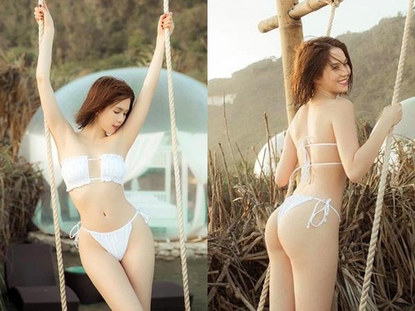 Diện bikini bé tí tẹo, Ngọc Trinh khoe vòng 3 'nóng rực' nhưng tìm mãi chẳng thấy ngực đâu