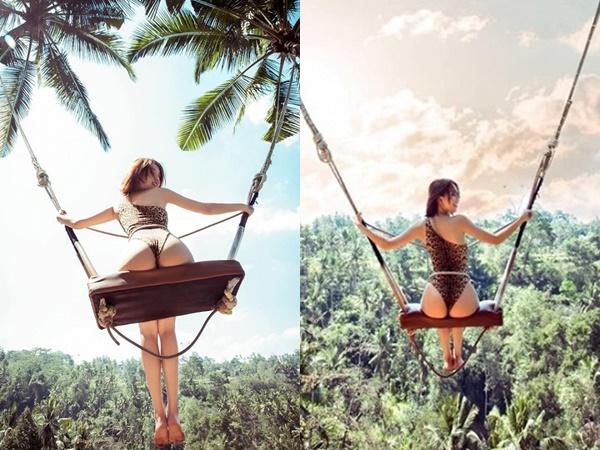 Diện bikini thả dáng trên xích đu, Ngọc Trinh khiến dân tình nhức mắt vì để lộ vòng 3 'siêu to khổng lồ'