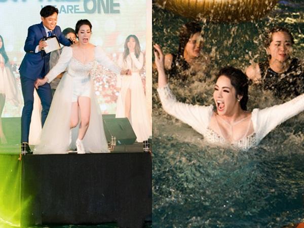Diện váy xuyên thấu, Nhật Kim Anh bối rối khi bị Quý Bình xô xuống nước lộ vùng nhạy cảm