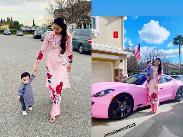 Đón Tết ở Mỹ, Hoa hậu Phạm Hương diện áo dài du xuân bên con trai cưng