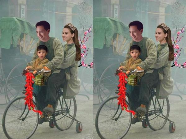Fan 'bấn loạn' với hình ảnh Kim Lý chở mẹ con Hà Hồ đi sắm Tết bằng xe đạp