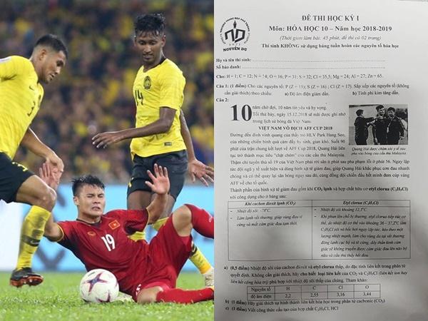 Hình ảnh Quang Hải bị cầu thủ Malaysia 'chặt chém' trên sân cỏ vào đề thi Hóa học gây 'bão' mạng