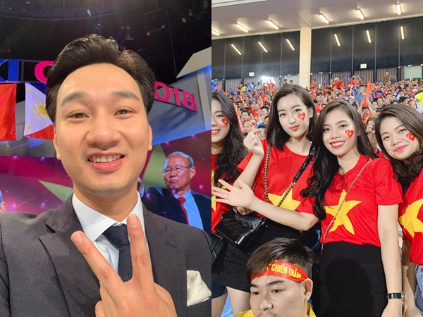 Hoa hậu Mỹ Linh, MC Thành Trung vỡ oà với chiến thắng của đội tuyển Việt Nam