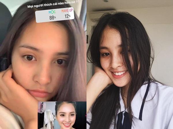 Hoa hậu Tiểu Vy đăng ảnh mặt mộc và mặt makeup để cư dân mạng bình chọn, kết quả không ngờ