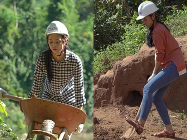 Hoa hậu Tiểu Vy để mặt mộc, đẩy xe đất, đào giếng cho bà con Bản Nịu