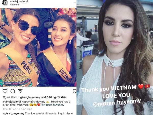 Huyền My nhận được lời chúc mừng sinh nhật đặc biệt từ Hoa hậu Hòa bình Quốc tế 2017