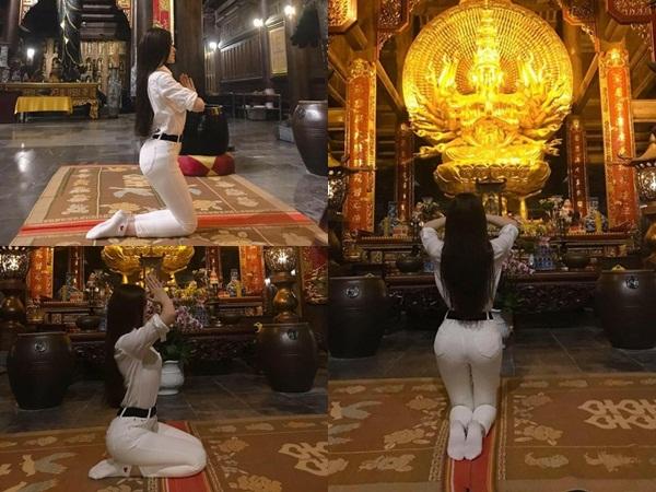 Khoe ảnh đi chùa, Thư Dung bị chửi 'sấp mặt' vì tạo dáng phản cảm ở chốn linh thiêng