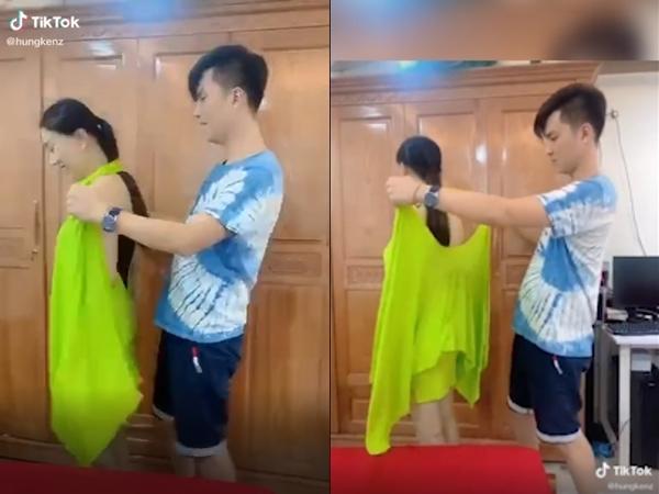 Lâm Khánh Chi khoe clip được chồng thay quần áo cho tại phòng riêng, đôi tay đặt lung tung của Phi Hùng gây chú ý
