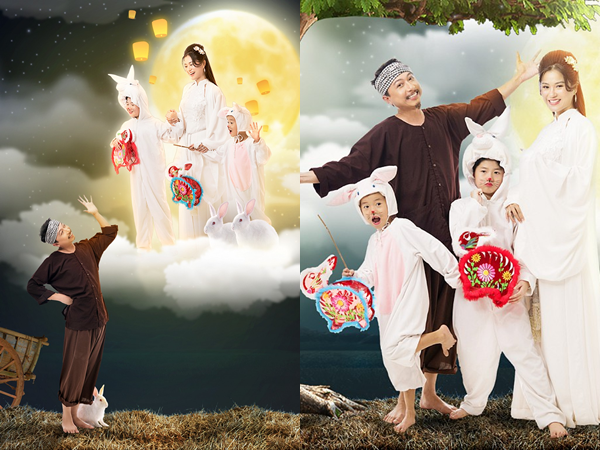 'Chịu chơi' như vợ chồng Lâm Vỹ Dạ - Hứa Minh Đạt, hóa thành chú Cuội, chị Hằng đón Tết Trung Thu với hai con