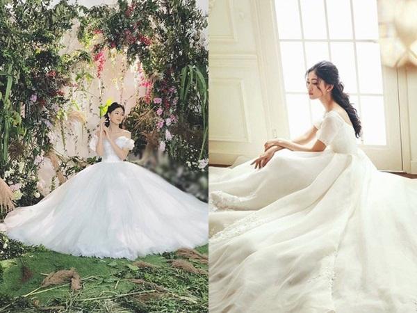 Trước thềm hôn lễ với chồng hơn 16 tuổi, lộ ảnh Thanh Tú diện váy cưới dài 4m, đính 10.000 viên pha lê