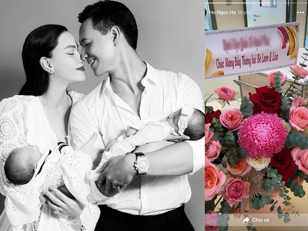 Mẹ 3 con Hồ Ngọc Hà hạnh phúc khoe quà đầy tháng của cặp song sinh 1 trai, 1 gái