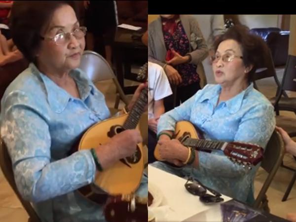 Mẹ Hoài Linh đàn hát đầy chất nghệ sĩ cùng Chí Tài, dân mạng xuýt xoa trước vẻ đẹp của bà ở tuổi 82