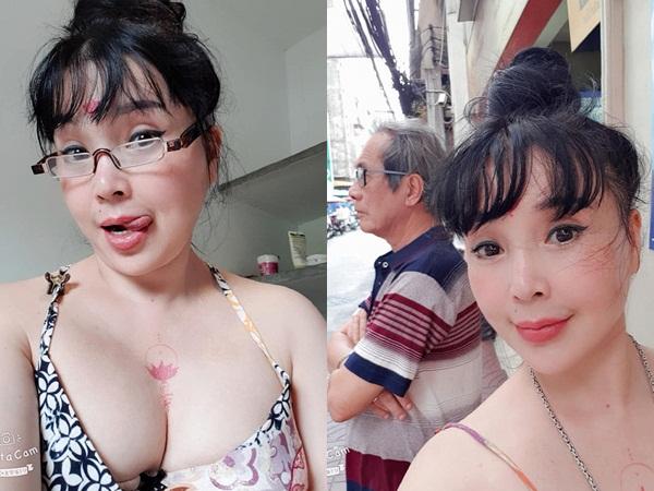 Nghệ sĩ Lan Hương diện áo dây khoe vòng 1 gợi cảm bên chồng