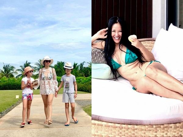 Ở tuổi 49, diva Hồng Nhung tự tin cởi áo thả dáng với bikini 2 mảnh, đồ xuyên thấu lộ nội y xanh rờn