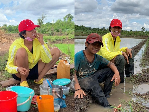 'Phát sốt' với hình ảnh H'Hen Niê bì bõm lội ruộng làm đồng, ngồi chồm hổm ăn cơm với cá khô