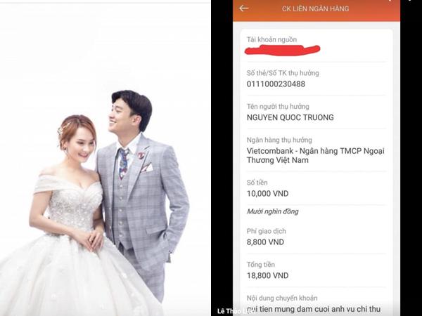 Quốc Trường đăng ảnh cưới Bảo Thanh, fan chuyển khoản ngay tiền mừng