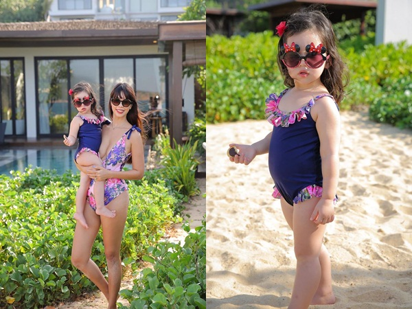 Quý cô Myla nhà siêu mẫu Hà Anh thả dáng cùng mẹ trên bãi biển, chuẩn bị tổ chức sinh nhật 2 tuổi ở resort hạng sang