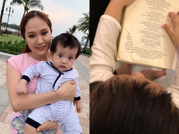 Thanh Thúy khổ tâm vì con trai 9 tháng tuổi đã 'thích sách, mê chữ, yêu văn chương' đến bất ngờ