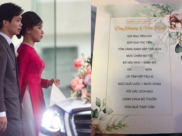 Thực đơn lễ cưới Công Phượng: Sơn hào hải vị nhưng đặc biệt nhất là món thứ ba