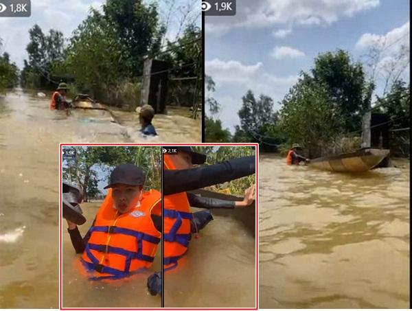 Thuyền chở Hoa hậu Kỳ Duyên và Minh Triệu bị lật khi đang trên đường cứu trợ người dân bị lũ lụt
