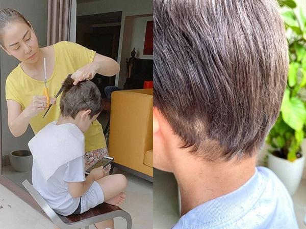 Trổ tài cắt tóc cho con trai giữa dịch bệnh, đây là kết quả Thu Minh nhận được