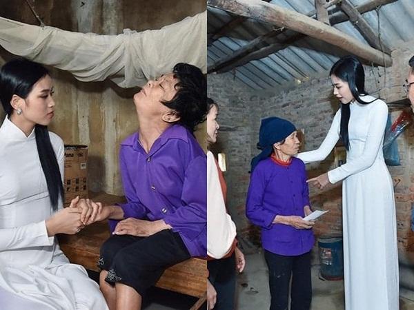 Từ thiện tại quê nhà, Hoa hậu Đỗ Thị Hà bị chê mặc đồ bó sát, trang điểm đậm, gắn lông mi giả