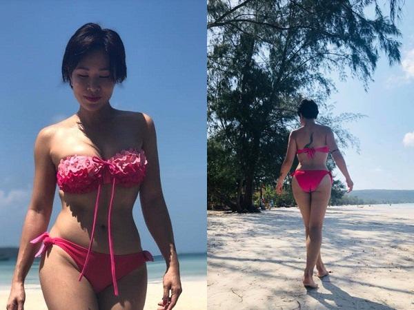 Uyên Linh khoe eo con kiến và vòng 1 căng đầy với bikini ở bãi biển