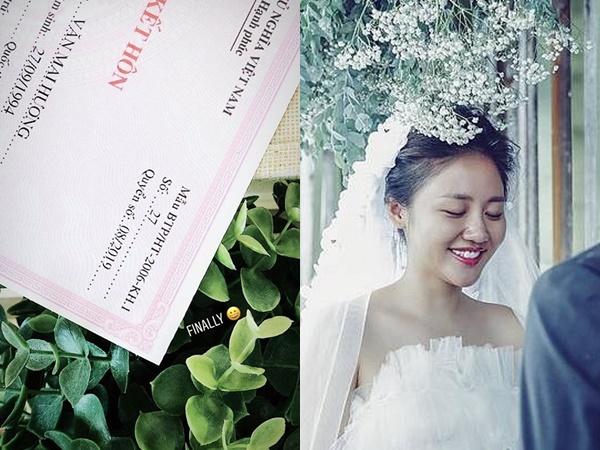 Văn Mai Hương khiến dân mạng sửng sốt khi khoe giấy đăng ký kết hôn, ngày lên xe hoa không còn xa?