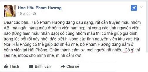 Quản lý của Phạm Hương thông báo bệnh tình của bố Hoa hậu Hoàn vũ.