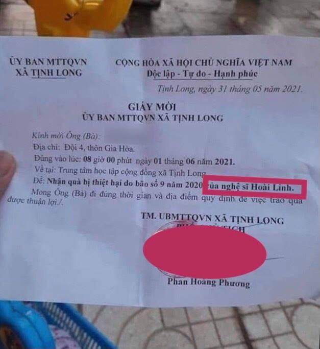 Đang giải ngân 4,57 tỷ đồng, giấy mời bà con ghi quà 'của NS Hoài Linh' kh.iển dân mạng thắc mắc: 'Ủa tiền đó của mạnh thường quân?' - Ảnh 1