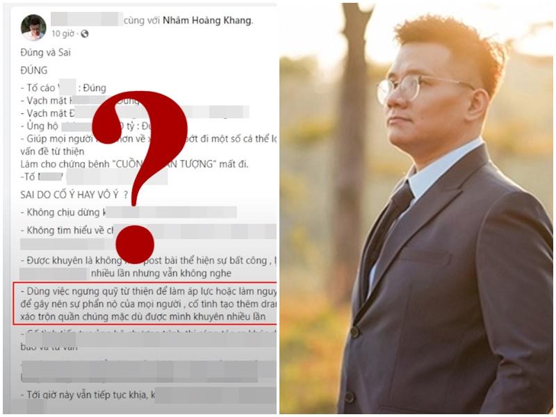 Nhâm Hoàng Khang đăng đàn tố bà Phương Hằng 'chiêu trò' khi dừng quỹ từ thiện, thẳng thừng dự báo kết cục 'sát thương' cao?