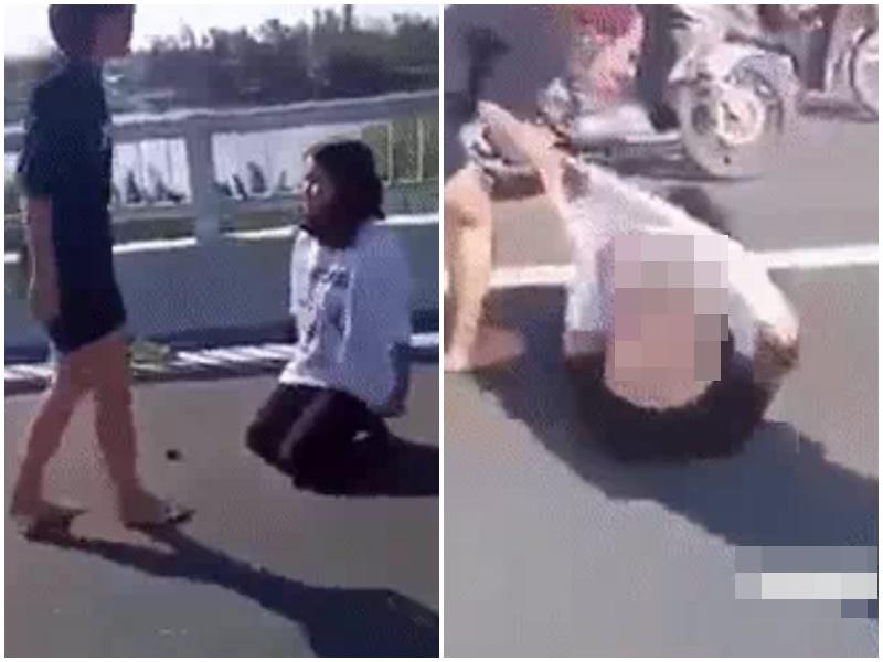 Nữ sinh lớp 8 đánh nữ sinh lớp 7 như phim kiếm hiệp, xé áo ngay trên cầu
