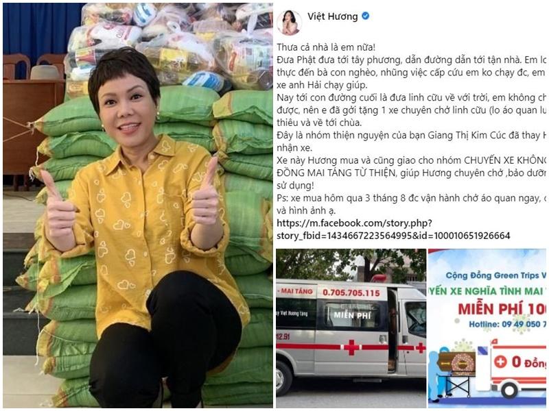 Việt Hương trao tặng xe mai táng hơn 300 triệu cho nhóm từ thiện, không quên nhắn nhủ: 'Chị giao gánh nặng cho em, mong em giúp chị thực hiện'