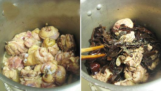Đợi khi gần thịt gà gần được mới cho mộc nhĩ và nấm hương vào nhé