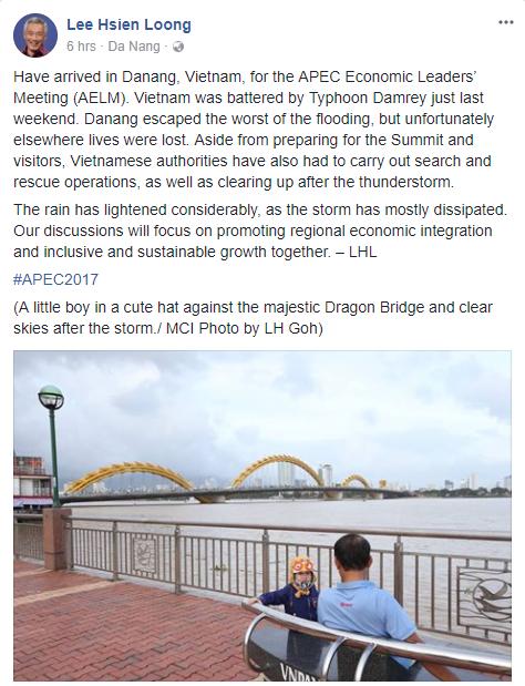 Thủ tướng Singapore Lý Hiển Long đăng ảnh Cầu Rồng lên Facebook sau khi tới Đà Nẵng - Ảnh 1