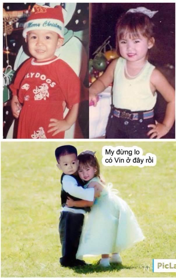 Hình ảnh thời còn bé của Khởi My và Kelvin Khánh được Khởi My chia sẻ trên trang Facebook cá nhân khiến cư dân mạng
