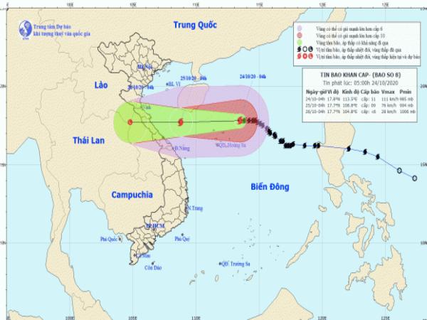Tin bão khẩn cấp: Cơn bão số 8 áp sát nước ta, gây mưa lớn tại các tỉnh miền Trung - Ảnh 1